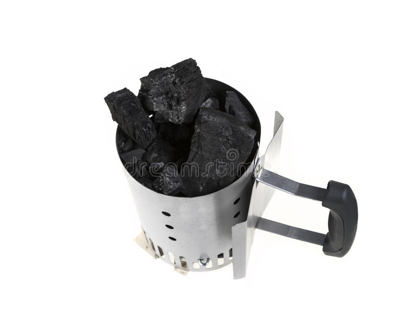 Charcoal Chimney Starter with Charcoal royalty free stock image