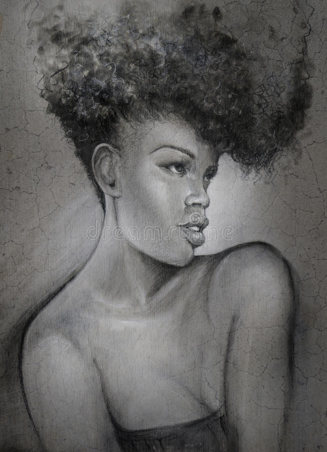 Charcoal drawing black sultry woman portrait royalty free illustration