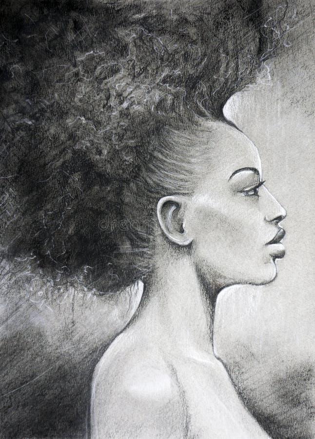 Charcoal drawing black woman portrait royalty free stock photo