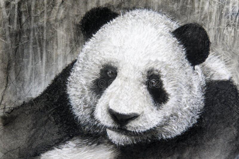 Charcoal drawing panda royalty free stock image