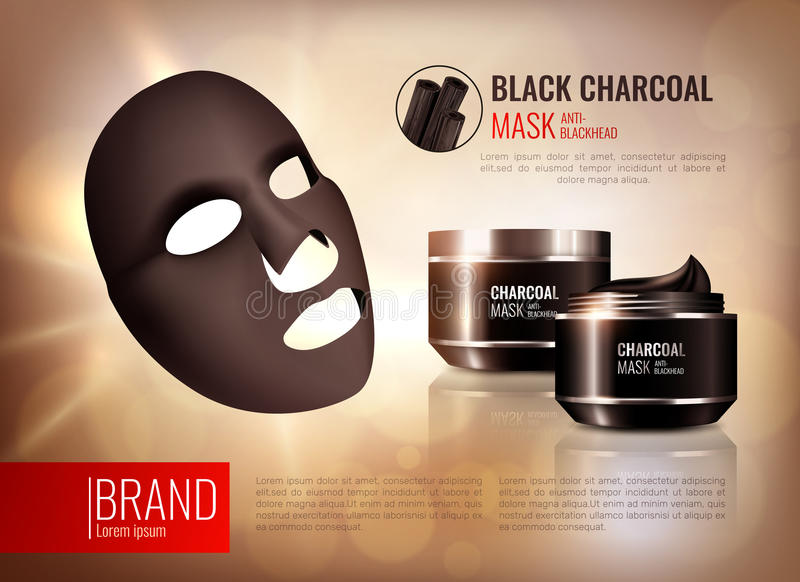 Charcoal Face Mask Poster. Charcoal cosmetic face mask poster with composition of branded pots on abstract background with editable text vector illustration vector illustration