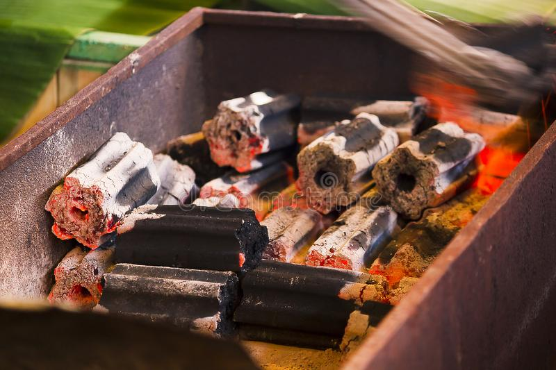 The charcoal fire is hot in the oven. Used for cooking stock photography
