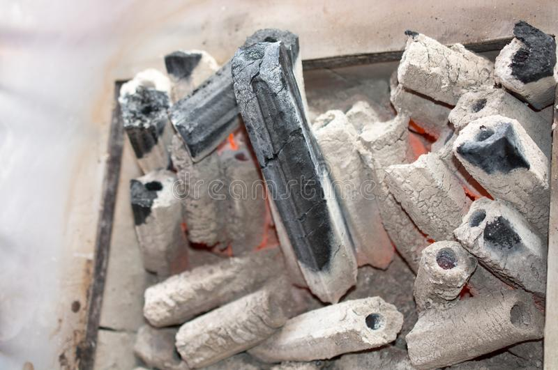 charcoal in the fire place for a grill royalty free stock photo