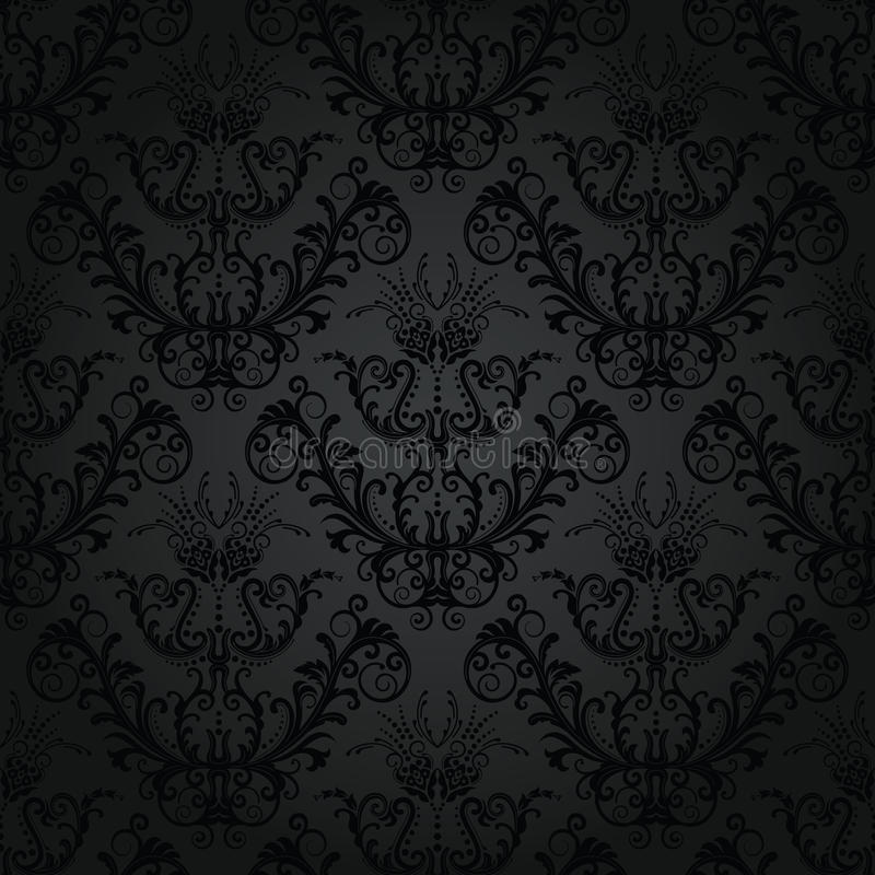 Charcoal floral seamless wallpaper stock illustration