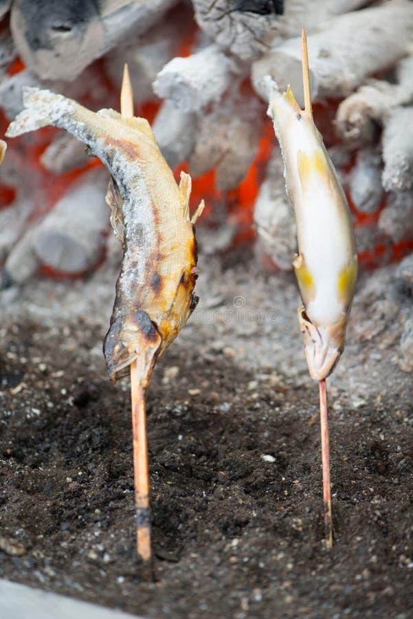 Charcoal grilled Ayu fish with salt. NIKKO, JAPAN - NOVEMBER 08, 2018:Charcoal grilled Ayu fish with salt. Traditional Japanese street food at Kegon waterfall in royalty free stock image