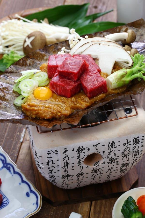 Charcoal grilled Hida beef on Hoba miso, Japanese local dish. Charcoal grilled Hida beef on Hoba miso, Japanese Takayama local dish royalty free stock photo