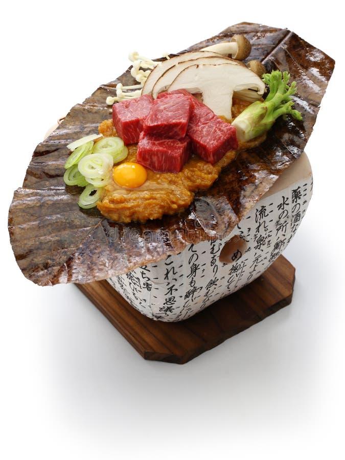 Charcoal grilled Hida beef on Hoba miso, Japanese local dish. Charcoal grilled Hida beef on Hoba miso, Japanese Takayama local dish stock photography