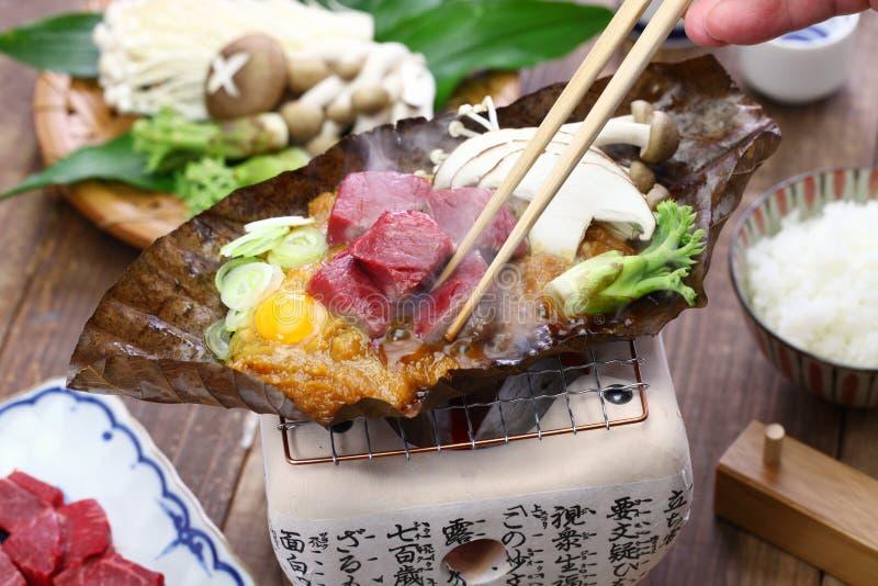 Charcoal grilled Hida beef on Hoba miso, Japanese local dish. Charcoal grilled Hida beef on Hoba miso, Japanese Takayama local dish royalty free stock images