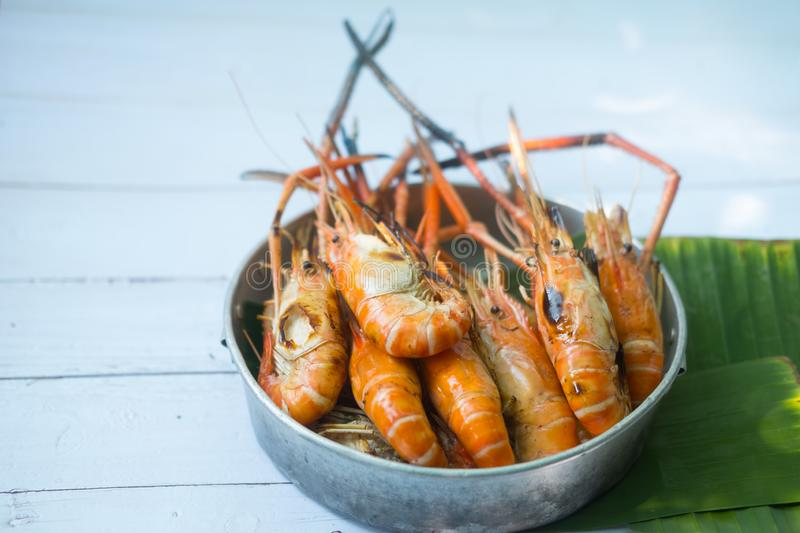 Charcoal grilled river prawns. Thai style barbecue royalty free stock image