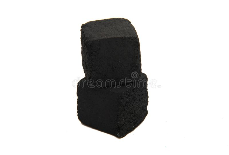 Charcoal for hookah isolated. On white background royalty free stock images
