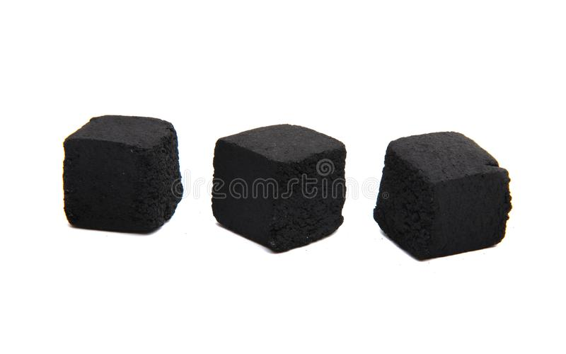 Charcoal for hookah isolated. On white background royalty free stock photos