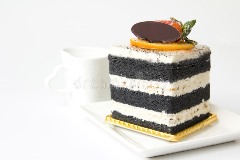 Download Charcoal layer cake stock photo. Image of plate, garnish - 26351044