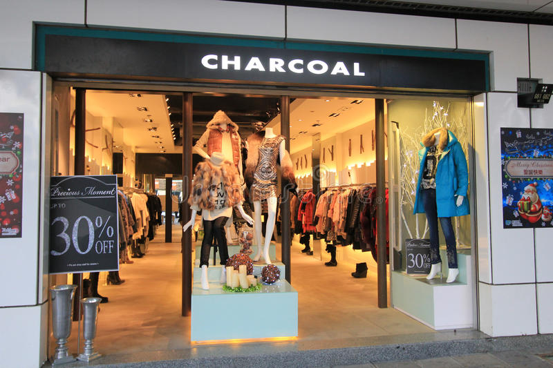 Charcoal shop in hong kveekoong. Charcoal shop, located in Tsim Sha Tsui, Hong Kong. charcoal is a clothes retailer in Hong Kong stock photos