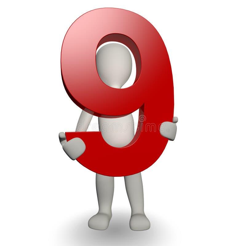 charcter 3d держа номер человека 9 иллюстрация вектора