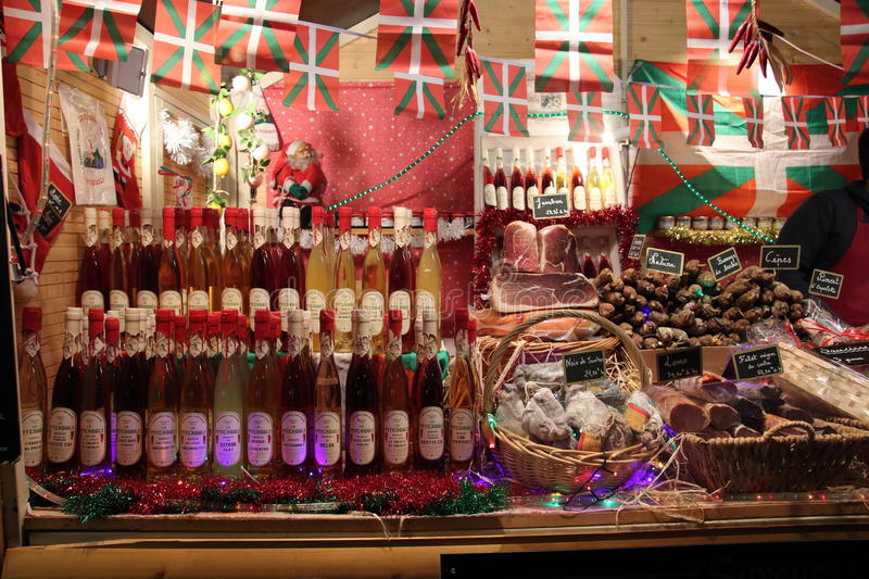Charcuterie and wines in christmas market ,France. Charcuterie and wines in christmas market in Perpignan,Languedoc region of France royalty free stock photo