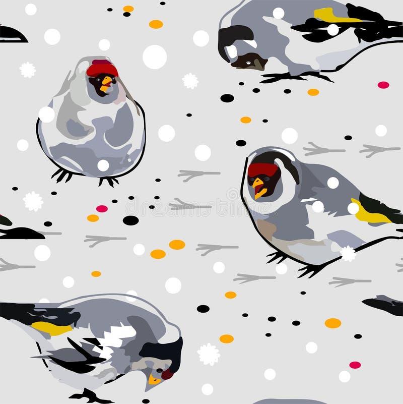 Chardonneret d'oiseaux sur la neige illustration libre de droits