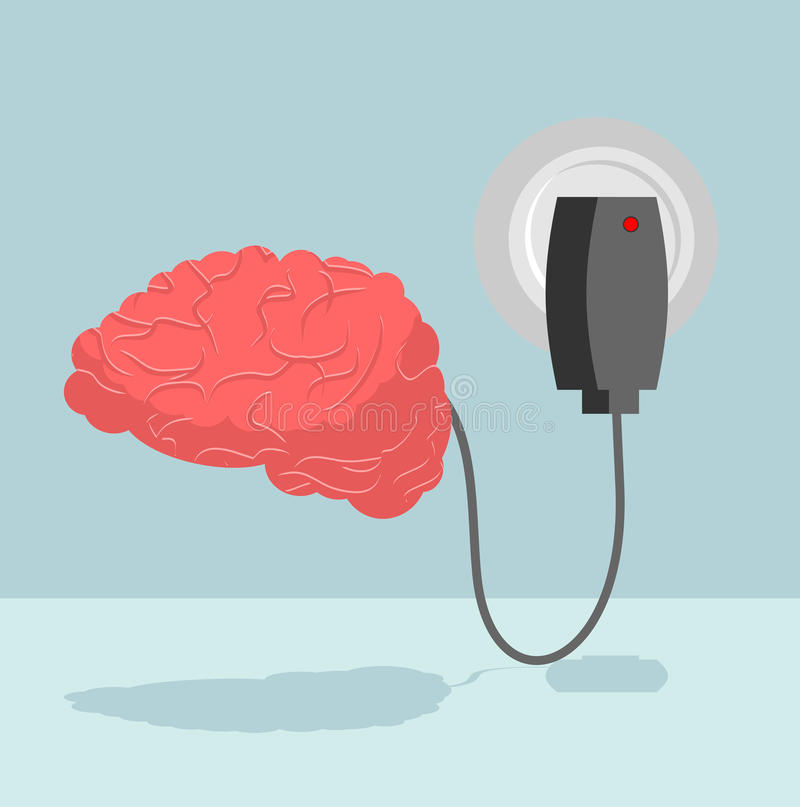 Charge brain. Charger for cerebrum. marrow is charged with new i stock illustration