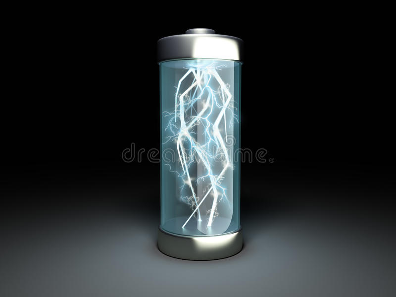 Charge de batterie de chargement de batterie sur l'illustration 3d noire illustration stock