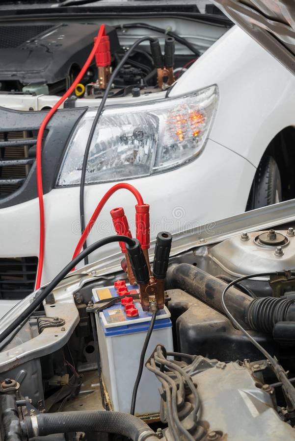Charge A Dead Car Battery Stock Photo