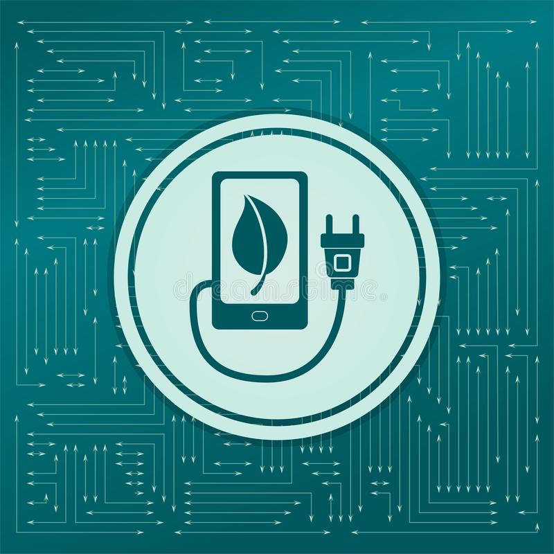 Charge eco power, usb cable is connected to the phone icon on a green background, with arrows in different directions. It appears. On the electronic board royalty free illustration
