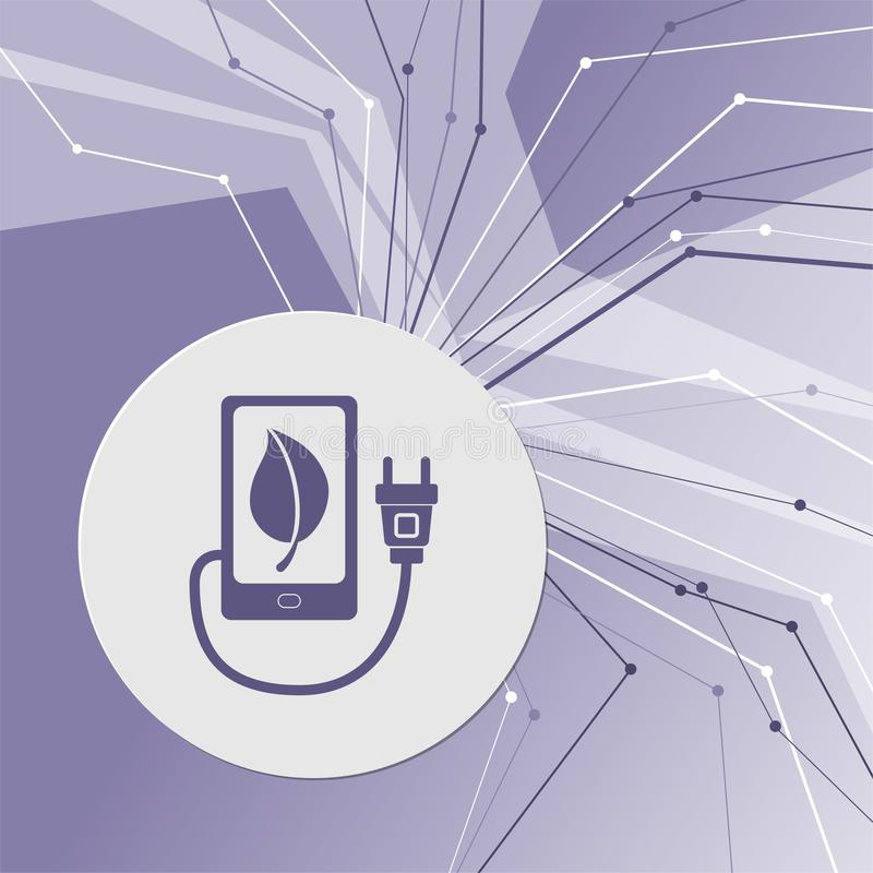 Charge eco power, usb cable is connected to the phone icon on purple abstract modern background. The lines in all directions. With. Room for your advertising royalty free illustration