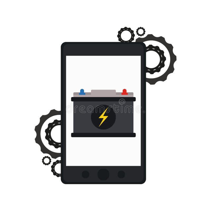 Charge et fil de batterie de voiture de Smartphone illustration stock
