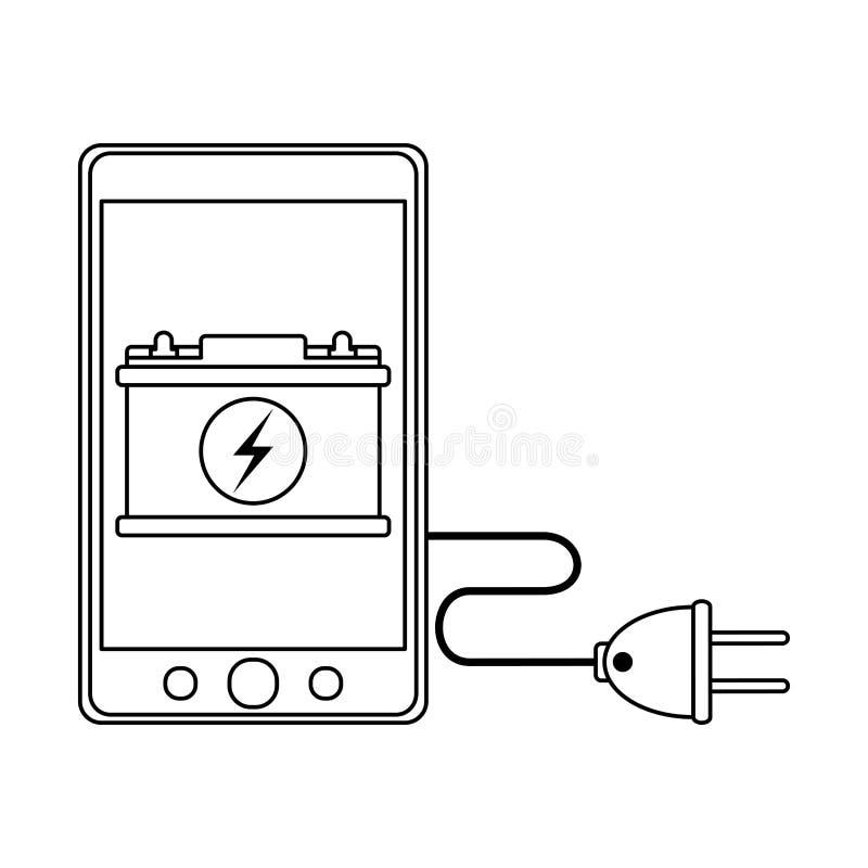 Charge et fil de batterie de voiture de Smartphone en noir et blanc illustration libre de droits
