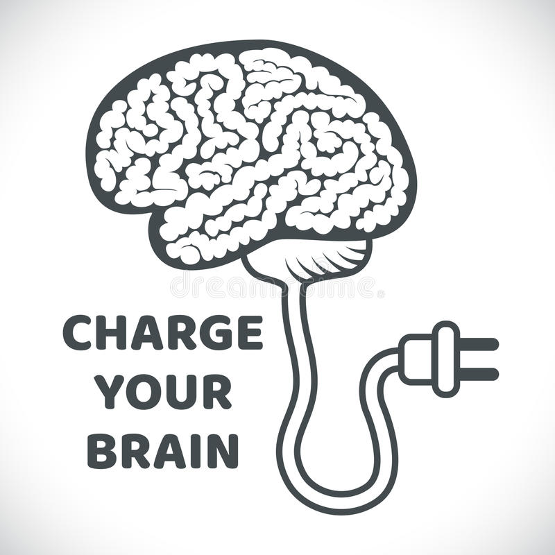 Charge your brain concept illustration royalty free illustration