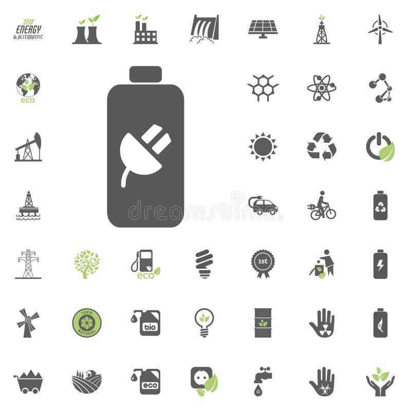 Chargeable batterisymbol Uppsättning för Eco och för alternativ energi vektorsymbol Vektor för uppsättning för resurs för makt fö royaltyfri illustrationer
