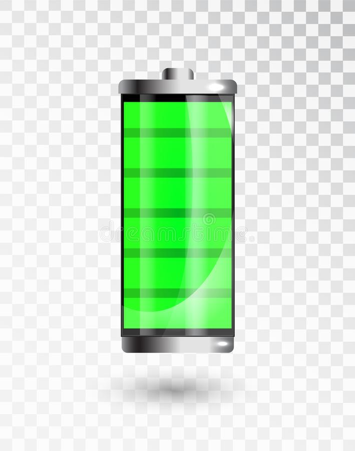 Charged battery. Full charge battery. Battery charging status indicator. Glass realistic power green battery stock illustration
