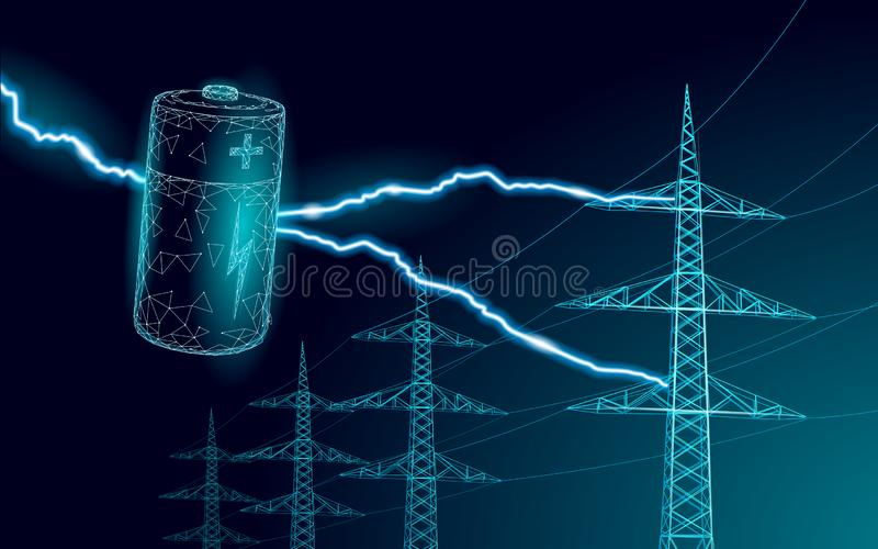 Charged polygonal alkaline battery power line. High voltage electrical tower pylon. Lightning thunder low poly polygon vector illustration