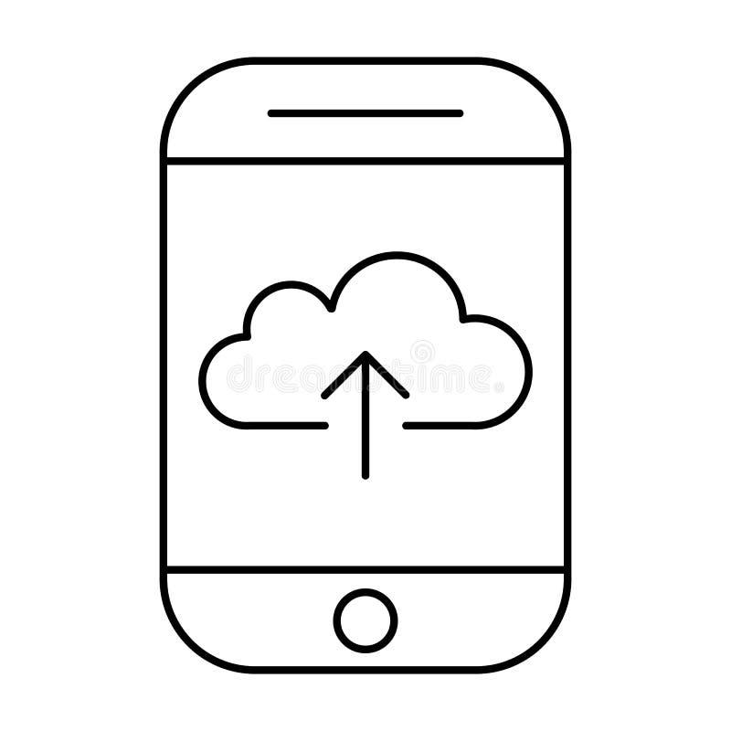 Chargement au stockage de nuage utilisant le smartphone Internet mobile Pictogramme de vecteur de téléphone illustration stock