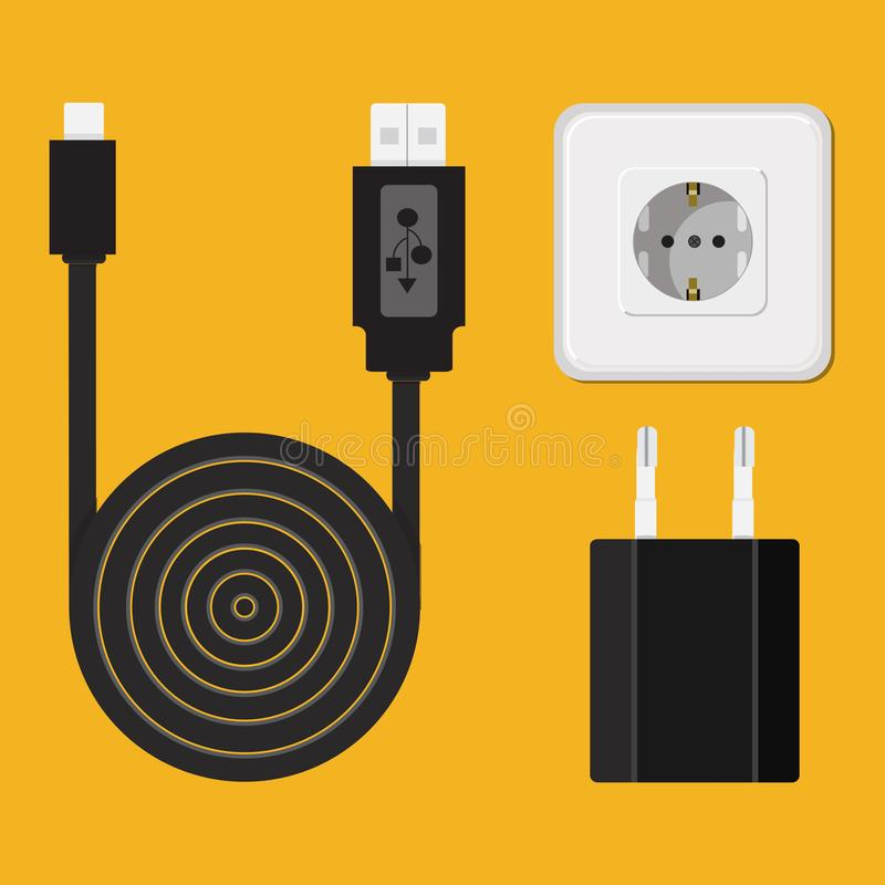 Free Charger, Cable, Wire For Phone With Micro USB Connector. Icon. Stock Image - 111313551
