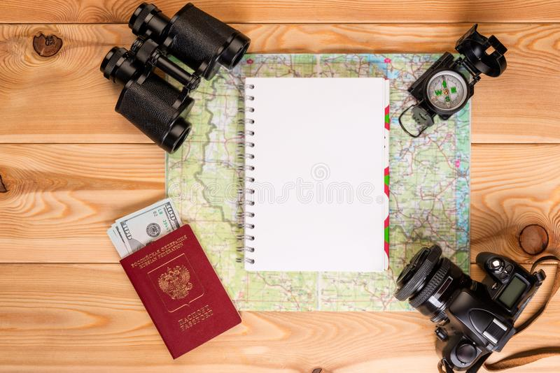 Charges for an extreme expedition preparation of objects. For travel, a notepad for entries from above royalty free stock photo