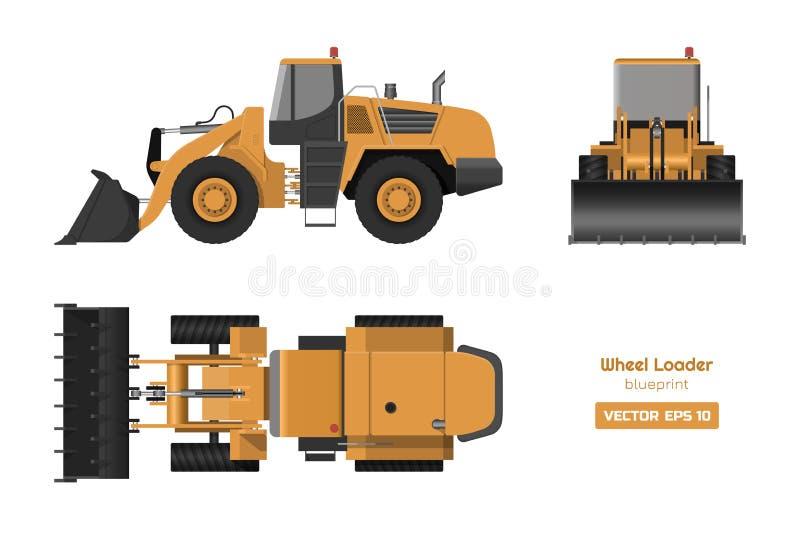 Chargeur de roue sur le fond blanc Vue de face de dessus, latérale et Image hydraulique de machines Dessin industriel de bouteur illustration libre de droits