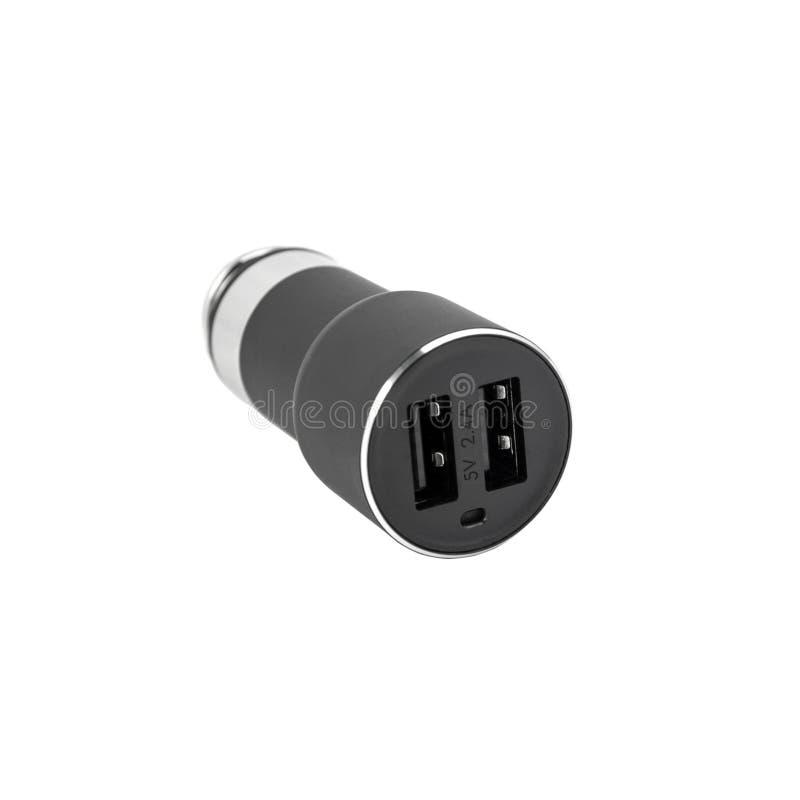 Chargeur de voiture d'USB d'isolement sur le blanc image libre de droits