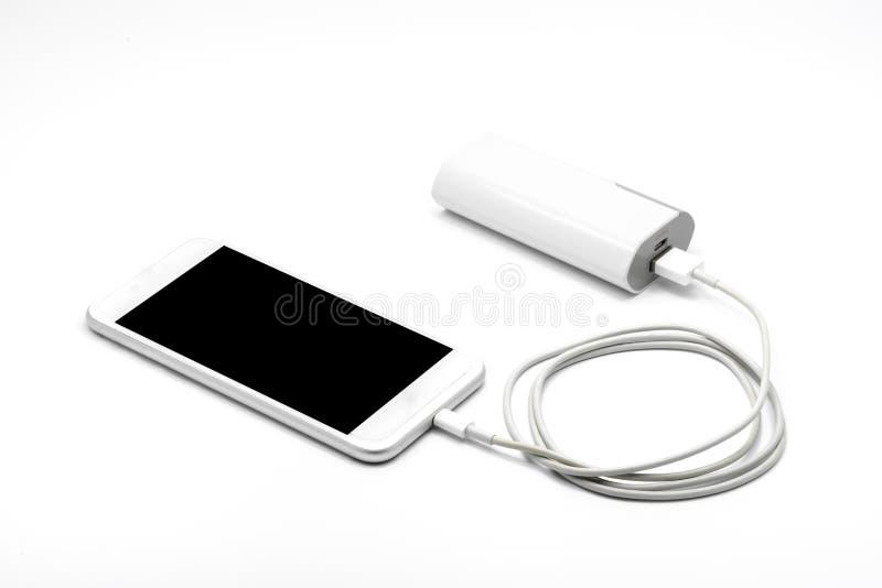 Chargeur futé blanc de téléphone avec la banque de puissance (banque de batterie) images stock