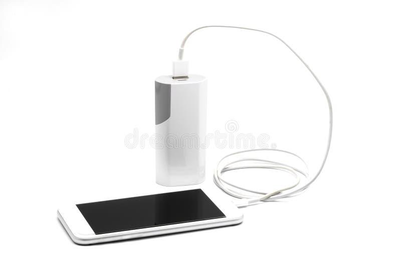 Chargeur futé blanc de téléphone avec la banque de puissance (banque de batterie) photographie stock libre de droits