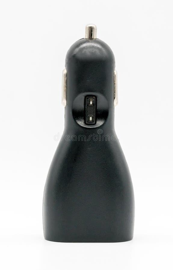 Chargeur noir de voiture de dispositif de l'électronique d'USB sur le blanc images libres de droits