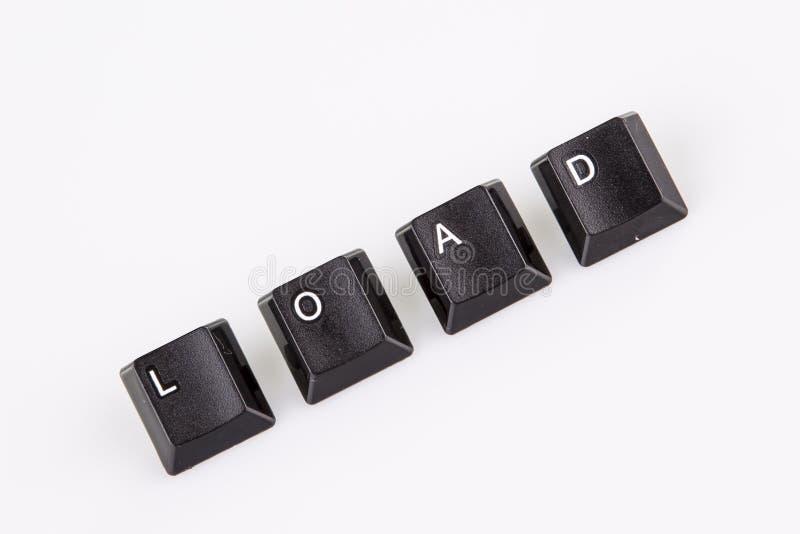 Chargez le mot écrit avec les boutons noirs d'ordinateur au-dessus du blanc image stock