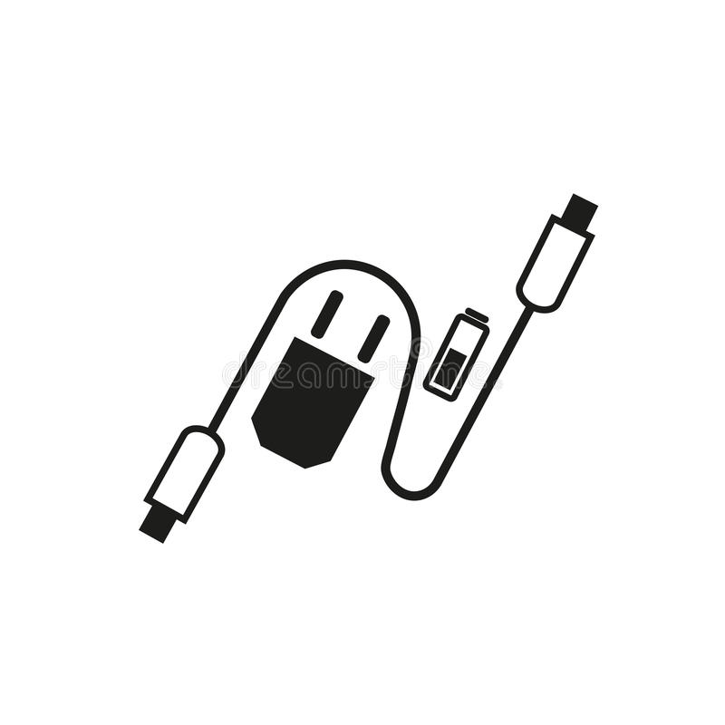 Charging accessories icon. Freehand drawn black white flat style. Adapter charger, usb cable, alkaline battery. Vector symbol of lightning computor peripherals vector illustration