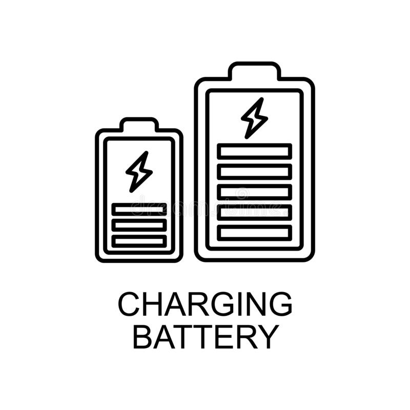 charging battery outline icon. Element of enviroment protection icon with name for mobile concept and web apps. Thin line charging stock illustration