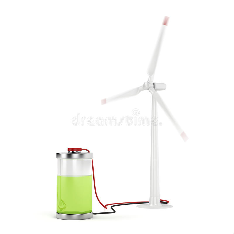 Charging battery with wind turbine royalty free illustration