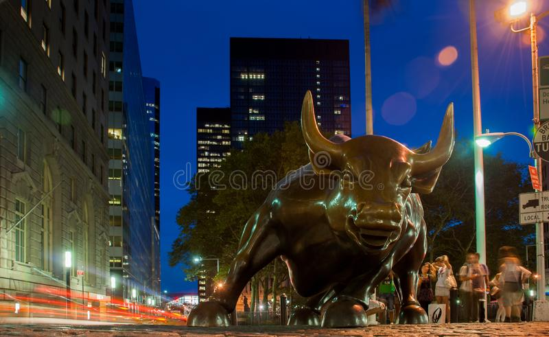 Charging Bull or Wall Street Bull or the Bowling Green Bull stands in the Financial District in Manhattan, New York City royalty free stock images