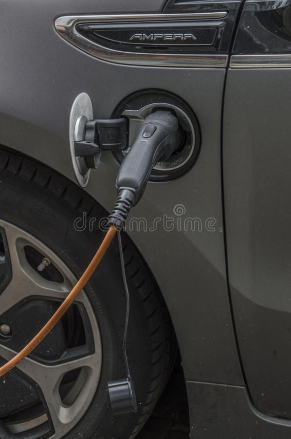 Charging An Electric Car. At Amsterdam The Netherlands 2018 stock photo