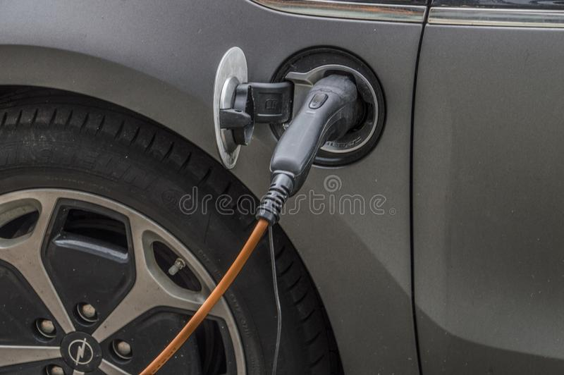 Charging An Electric Car. At Amsterdam The Netherlands 2018 stock image