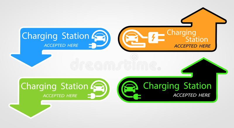 Charging for electric cars for home. the pointer where is located. Logo Road sign template of electric vehicle. Vector stock illustration