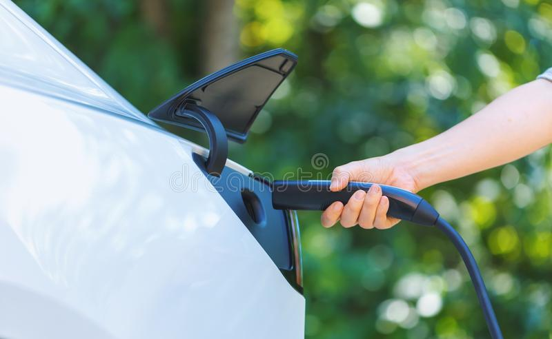 Charging an electric vehicle royalty free stock images
