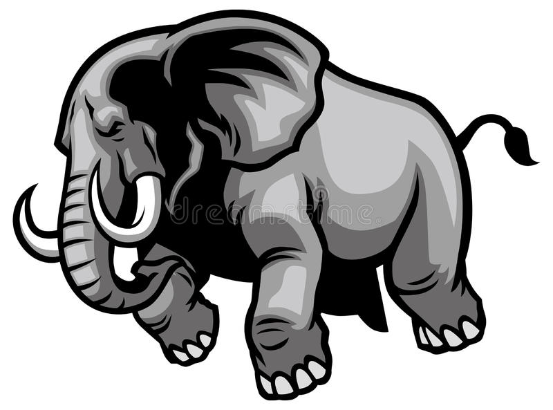 charging elephant stock vector illustration of outline