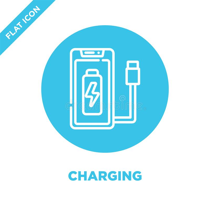 charging icon vector from smart home collection. Thin line charging outline icon vector  illustration. Linear symbol for use on vector illustration
